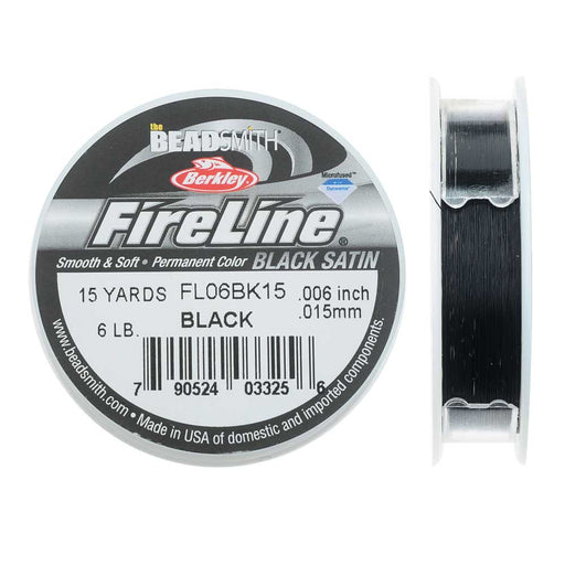 "FireLine Braided Beading Thread, 6lb Test Weight and .006"" Thick, 15 Yard Spool, Black Satin"