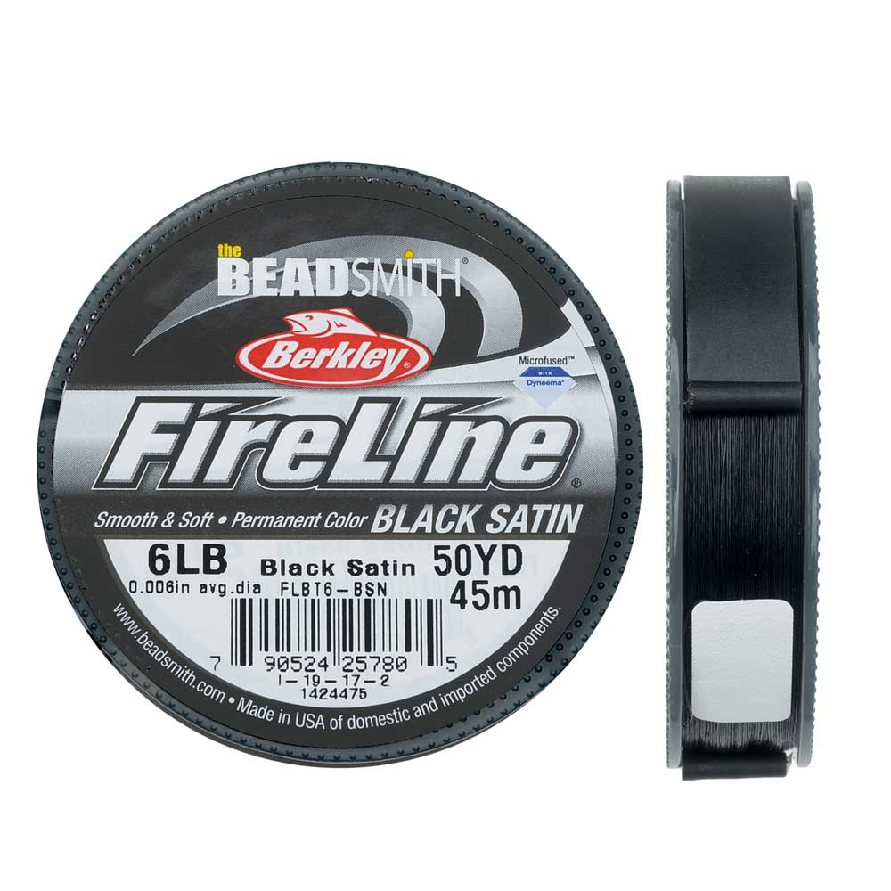 "FireLine Braided Beading Thread, 6lb Test Weight and .006"" Thick, 50 Yard Spool, Black Satin"
