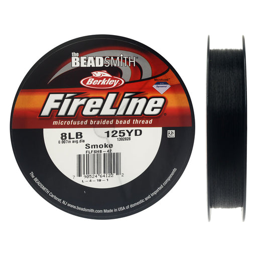 "FireLine Braided Beading Thread, 8lb Test and 0.007"" Thick, 125 Yards, Smoke Gray"