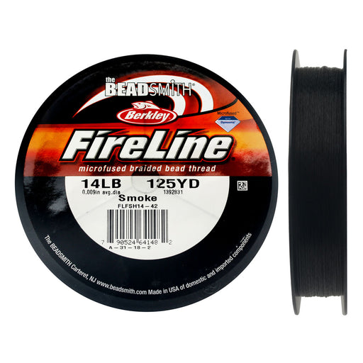"FireLine Braided Beading Thread, 14lb Test and 0.009"" Thick, 125 Yards, Smoke Gray"