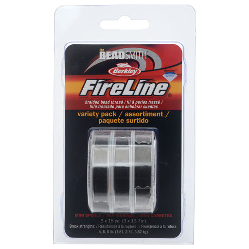 FireLine Braided Beading Thread Pack, 4-6-8lb Test Weights, Three 15 Yard Spools, Smoke Gray