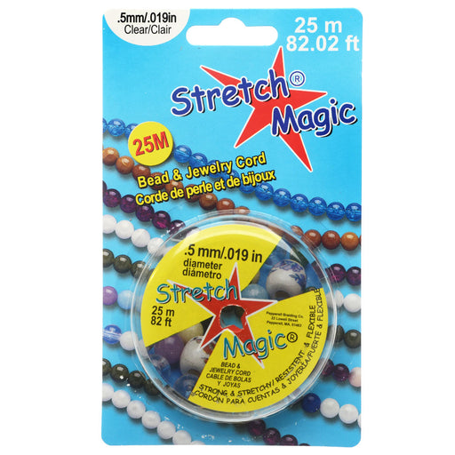 Stretch Magic Cord, Round .5mm (.019 Inch) Thick, 25 Meter Spool, Clear