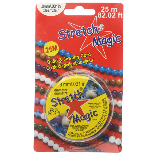 Stretch Magic Cord, Round .8mm (.031 Inch) Thick, 25 Meter Spool, Clear