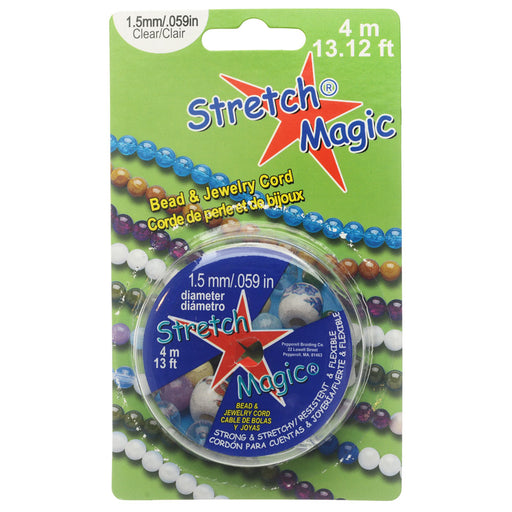 Stretch Magic Cord, Round 1.5mm (.059 Inch) Thick, 4 Meter Spool, Clear