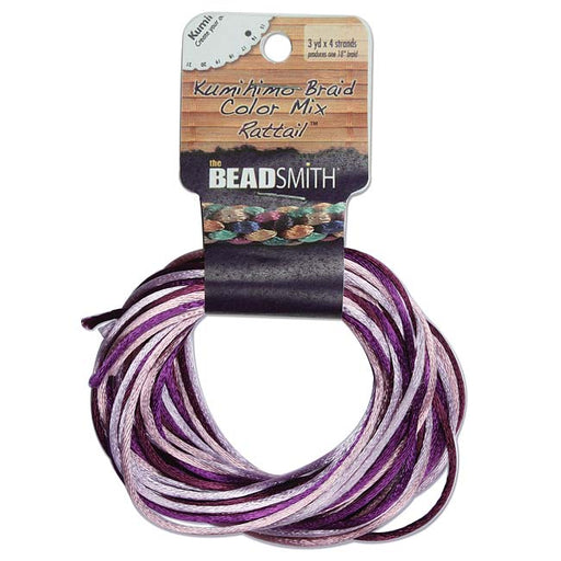 The Beadsmith Satin Rattail Braiding Cord 1mm Lilac Purple Mix 4 Colors - 3 Yds Each
