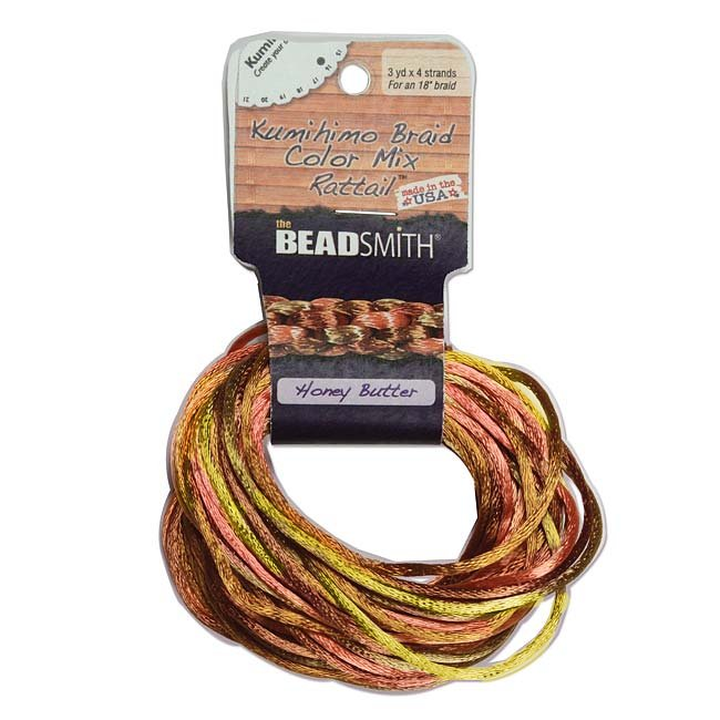 The Beadsmith Satin Rattail Braiding Cord 2mm Honey Butter Mix 4 Colors - 3 Yds Each