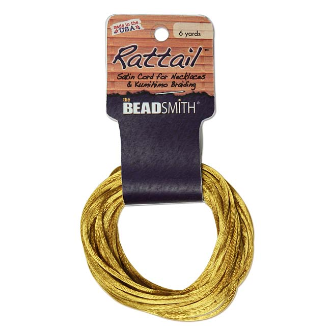 The Beadsmith Satin Rattail Braiding Cord 3mm Antique Gold 6 Yards - For Kumihimo