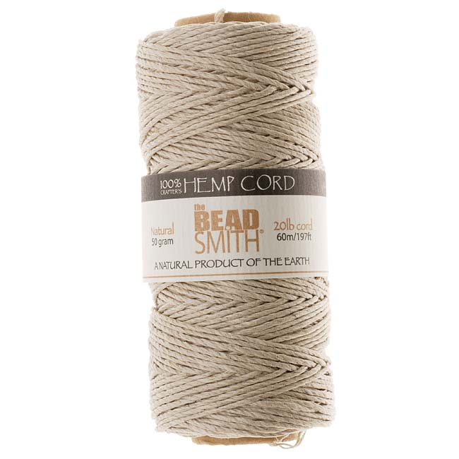 The Beadsmith Natural Hemp Twine Bead Cord 1mm / 197 Feet (60 Meters)