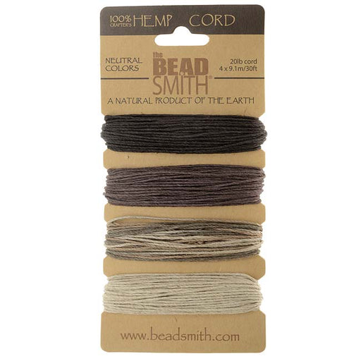 Natural Hemp Twine Bead Cord 1mm Four Color Assorted Variety Pack - 30 Feet Each