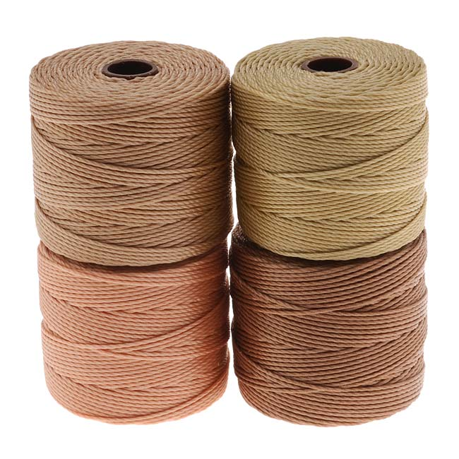 Super-Lon (S-Lon) Cord - Warm Neutrals Mix - Four 77 Yard Spools /Size 18 Cord