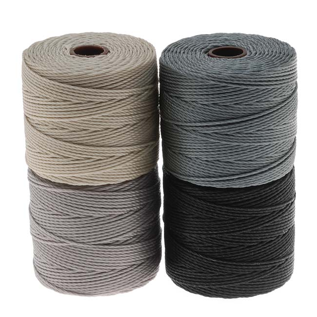 Super-Lon (S-Lon) Cord - Cool Neutrals Mix - Four 77 Yard Spools /Size 18 Cord