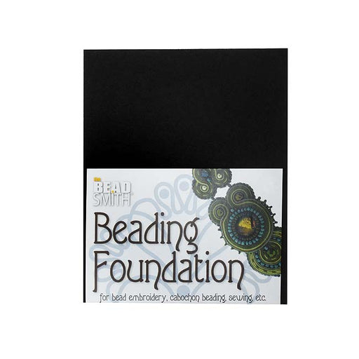 The Beadsmith Beading Foundation - For Embroidery Work - Black 5.5x4.25 Inches, 1 Sheet
