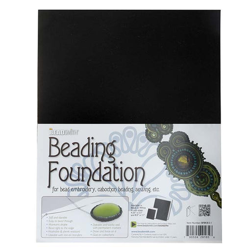 The Beadsmith Beading Foundation For Embroidery Work - Black 11x8.5 Inches (4 Pack)