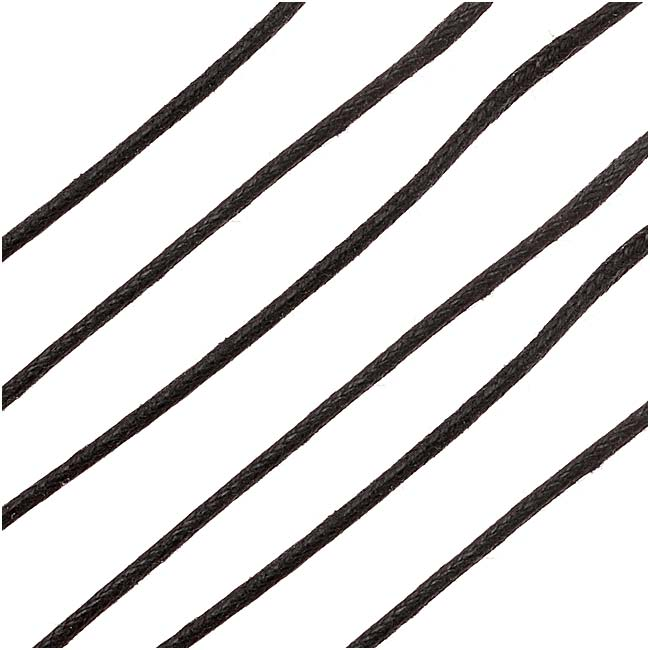 Waxed Cotton Cord 1.5mm Round - Black (5 Meters/16.5 Feet)