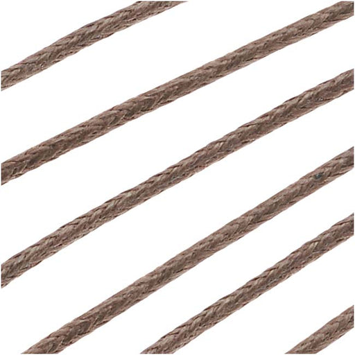 Waxed Cotton Cord 1mm Round  - Light Brown (5 Meters/16.5 Feet)