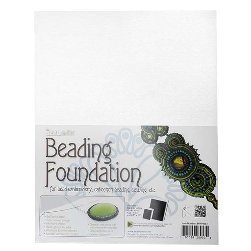 The Beadsmith Beading Foundation  - For Embroidery Work - White 11x8.5 Inches, 1 Sheet