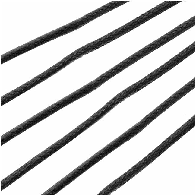Waxed Cotton Cord, 2mm Round, 4 Meters / 13.1 Feet, Black
