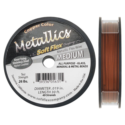 Soft Flex Metallics, 49 Strand Medium Beading Wire .019 Inch Thick, 30 Feet, Copper Color