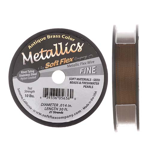 Soft Flex Metallics, 21 Strand Fine Beading Wire .014 Inch Thick, 30 Feet, Antique Brass