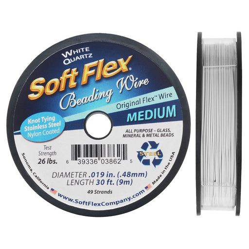 Soft Flex, 49 Strand Medium Beading Wire .019 Inch Thick, 30 Feet, White