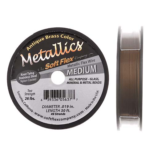 Soft Flex Metallics, 49 Strand Medium Beading Wire .019 Inch Thick, 30 Feet, Antique Brass