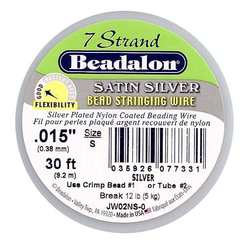 "Beadalon Wire ""Satin Silver"" 7 Strand .015 Inch / 30Ft"