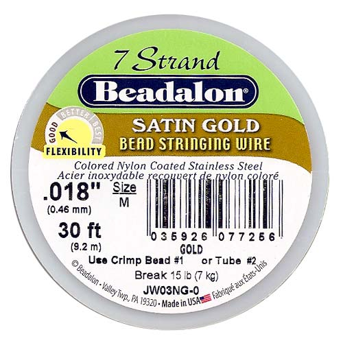 Beadalon Wire Satin Gold 7 Strand .018 Inch / 30Ft