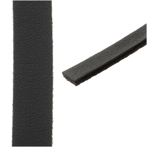 Flat Faux Leather Cord 10x1.3mm - Black - Pack of 1 Meter