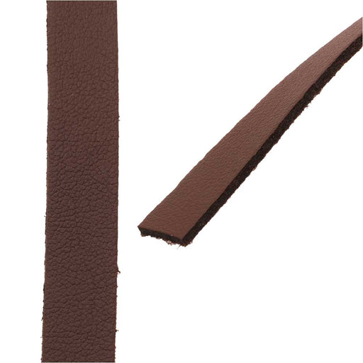Flat Faux Leather Cord, 10x1.3mm, 1 Meter, Chocolate Brown