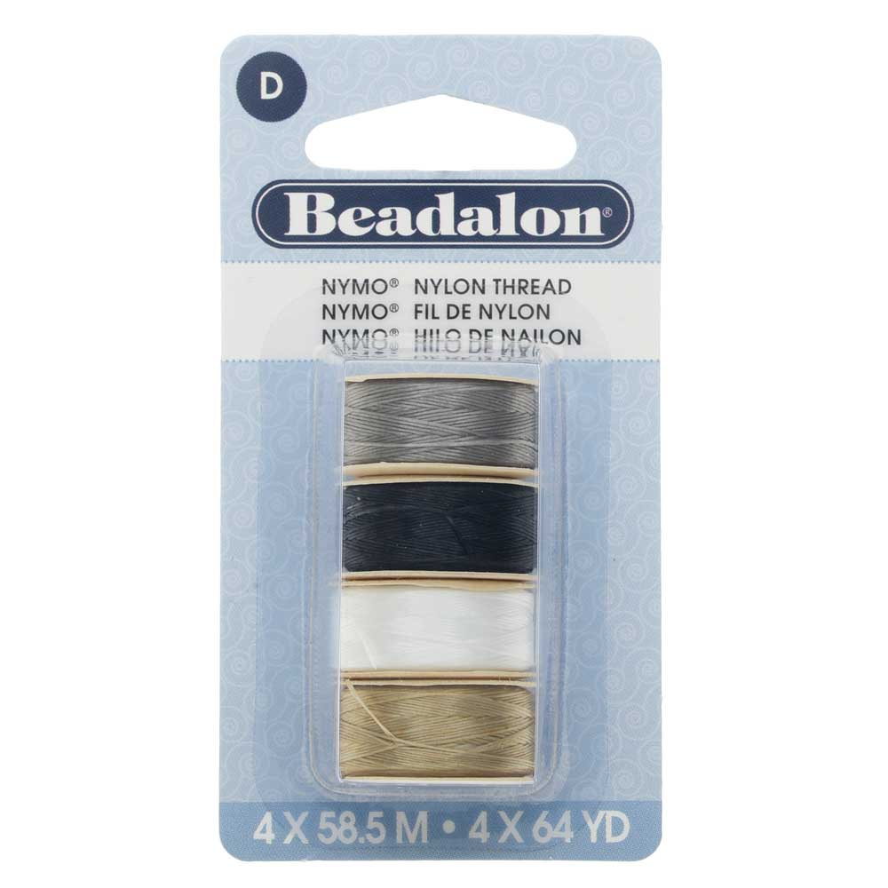 "Nymo Nylon Bead Thread Variety Pack, Size D / 0.30mm / .012"", Four 64-Yard Spools, Earth Tones"