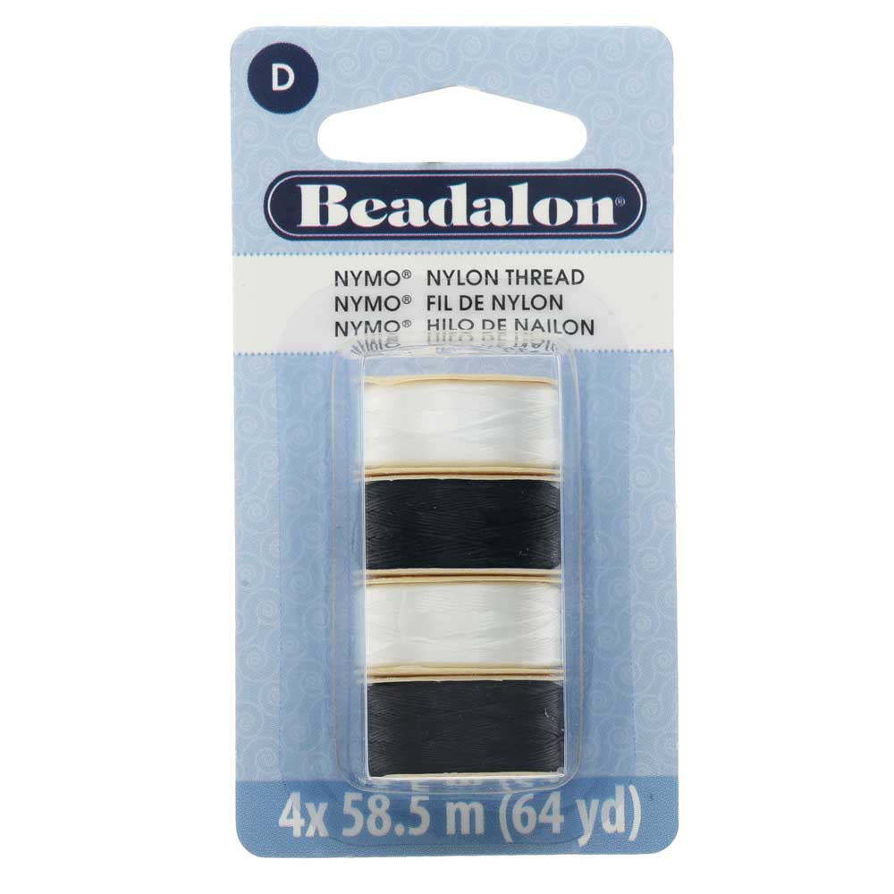 "Nymo Nylon Bead Thread Variety Pack, Size D / 0.30mm / .012"", Four 64-Yard Spools, Black & White"