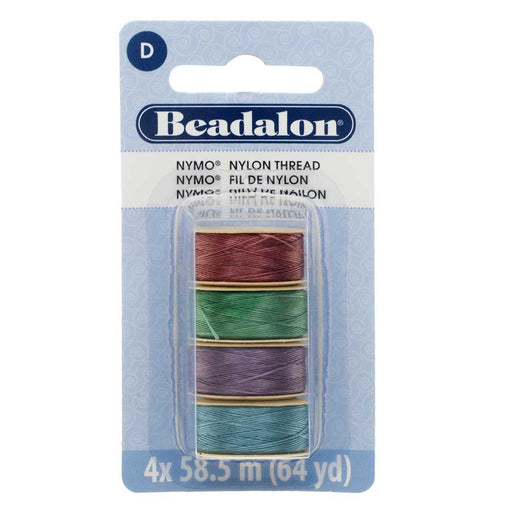"Nymo Nylon Bead Thread Variety Pack, Size D / 0.30mm / .012"", Four 64-Yard Spools, Light Gem Tones"