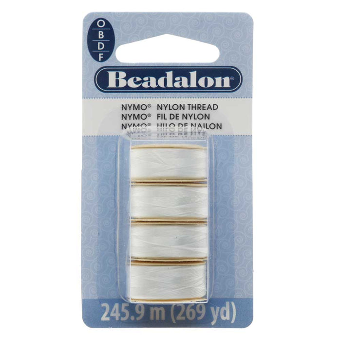 Nymo Nylon Bead Thread Variety Pack, Sizes O / B / D and F, 269 Yards Total, White