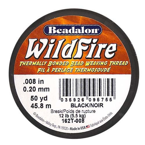 Wildfire Thermal Bonded Beading Thread .008 Inch - Black- 50 Yd