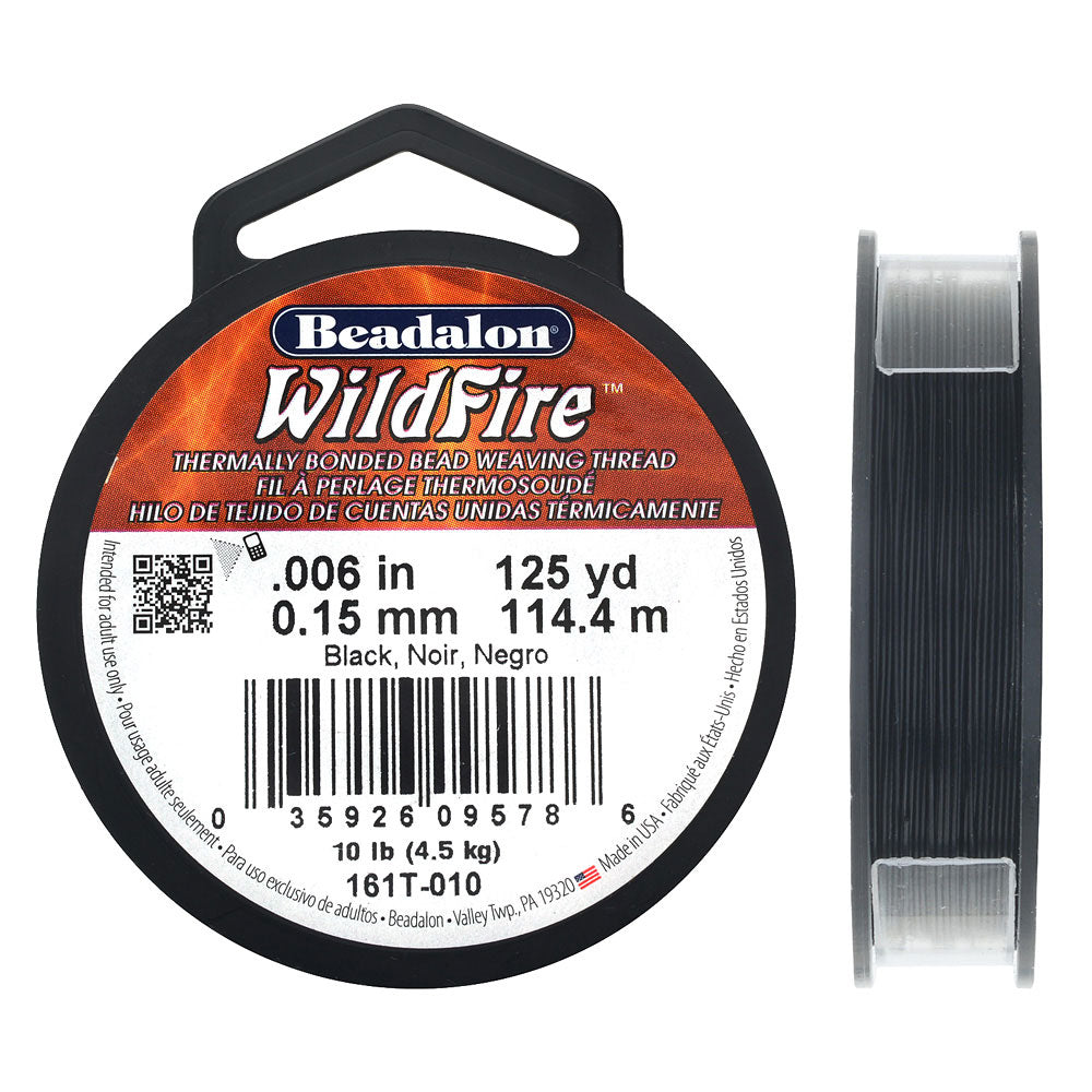 Wildfire Thermal Bonded Beading Thread, .006 Inch Thick, 125 Yards, Black