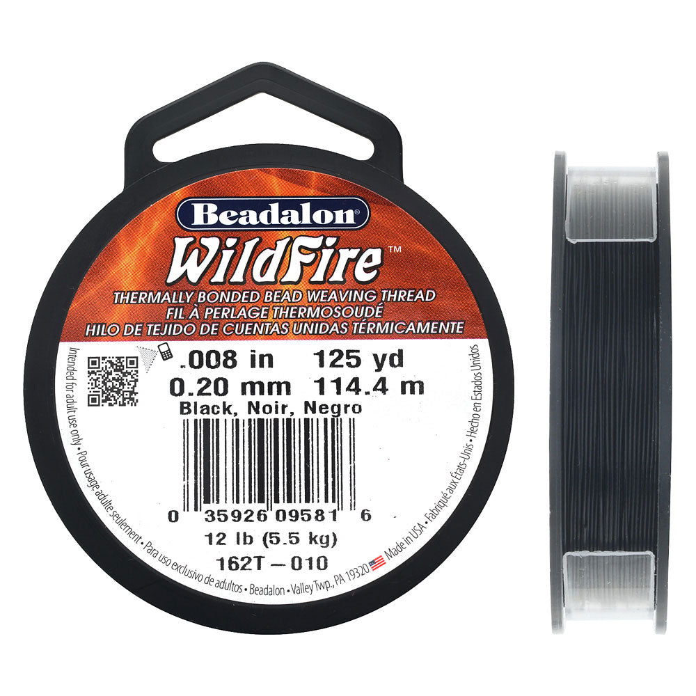 Wildfire Thermal Bonded Beading Thread, .008 Inch Thick, 125 Yards, Black