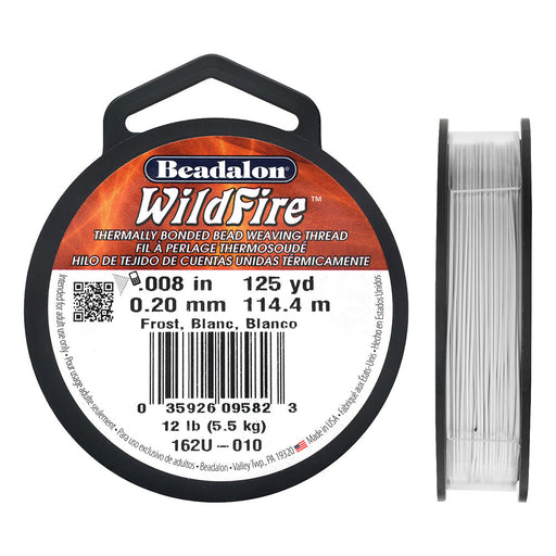 Wildfire Thermal Bonded Beading Thread, .008 Inch Thick, 125 Yards, Frost / White