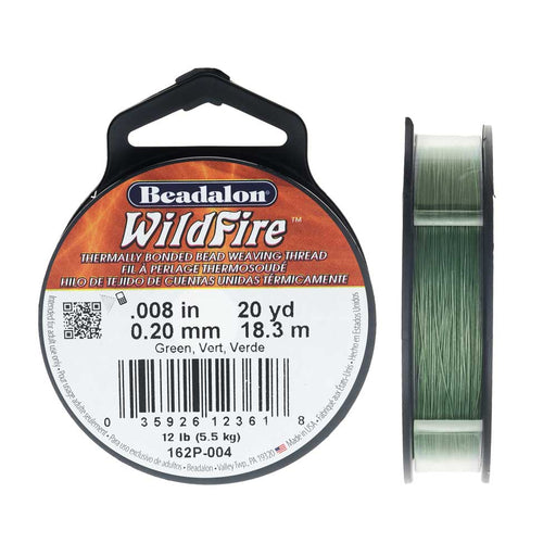 Wildfire Thermal Bonded Beading Thread, .008 Inch Thick, 20 Yard Spool, Green