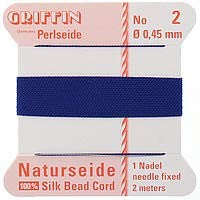 Griffin Silk Beading Cord & Needle Size 2 Dark Blue