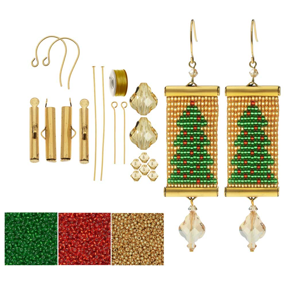 Refill - Loom Statement Earring Kit - Christmas Tree - Exclusive Beadaholique Jewelry Kit