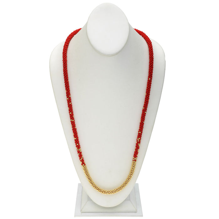Refill - Long Beaded Kumihimo Necklace - Red and Gold - Exclusive Beadaholique Jewelry Kit
