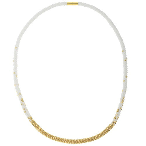 Refill - Long Beaded Kumihimo Necklace - White & Gold - Exclusive Beadaholique Jewelry Kit