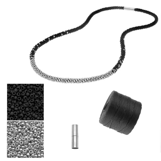 Refill - Long Beaded Kumihimo Necklace - Black & Silver - Exclusive Beadaholique Jewelry Kit