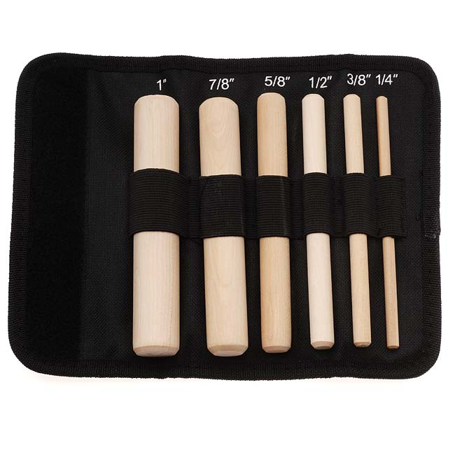 The Beadsmith 6-Piece Wooden Mandrel Set For Wire Forming - Includes Storage Case