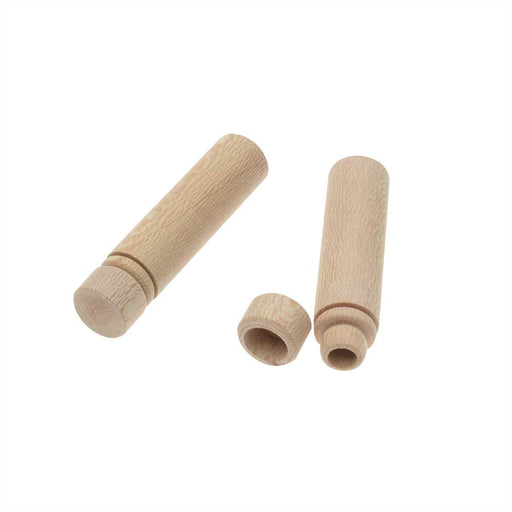 Wood Needle Case, Cylinder 2.34 x 0.55 Inches, 2 Pieces, Natural