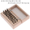 27 Pc Uppercase Lucida Calligraphy Alphabet Letter Punch Set For Stamping Metal In Wood Box 3mm