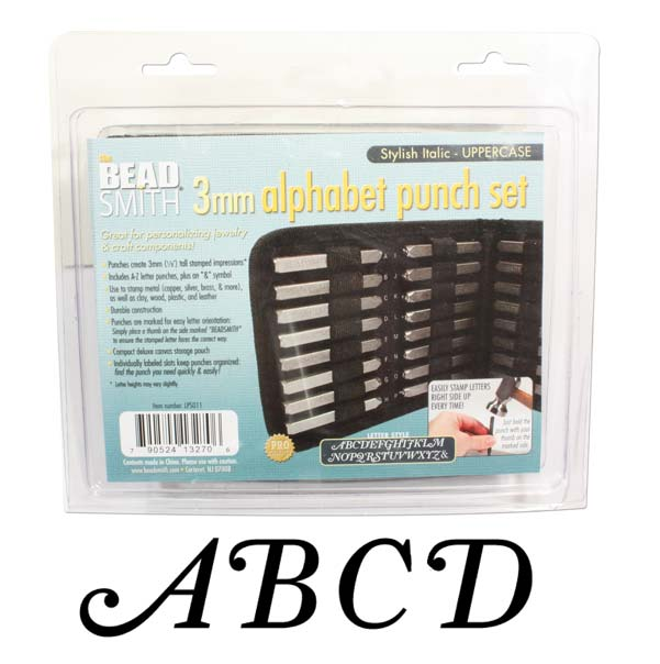 The Beadsmith 27 Piece Uppercase Stylish Italic Alphabet Letters A-Z Punch Set For Metal 3mm