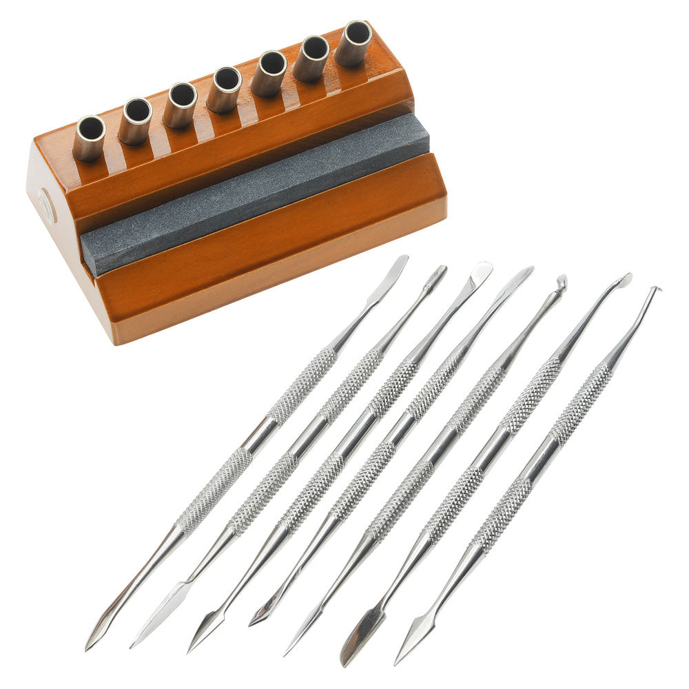 Wax Carving & Spatula Set, Includes 7 Tools with Wooden Base, 1 Set