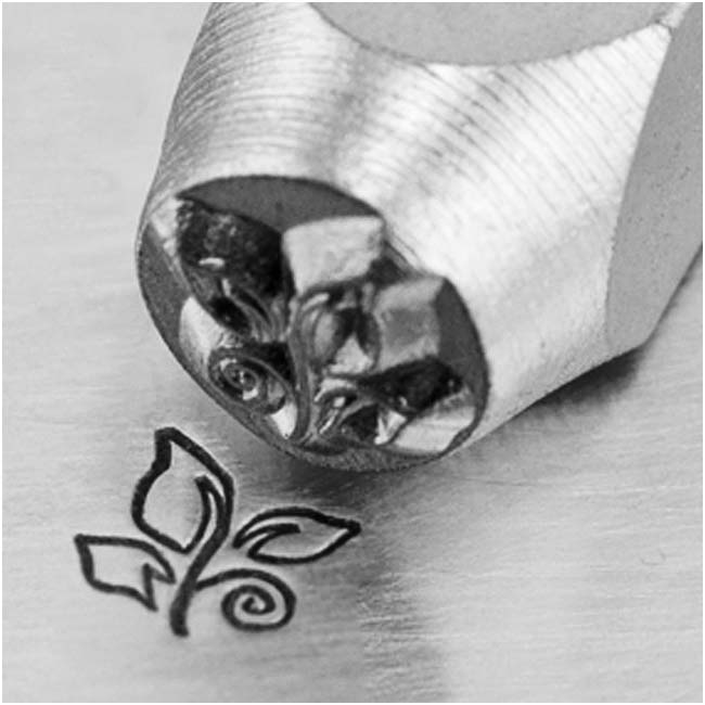 ImpressArt Metal Punch Stamp 'Leaf Swirl' 6mm (1/4 Inch) Design - 1 Piece