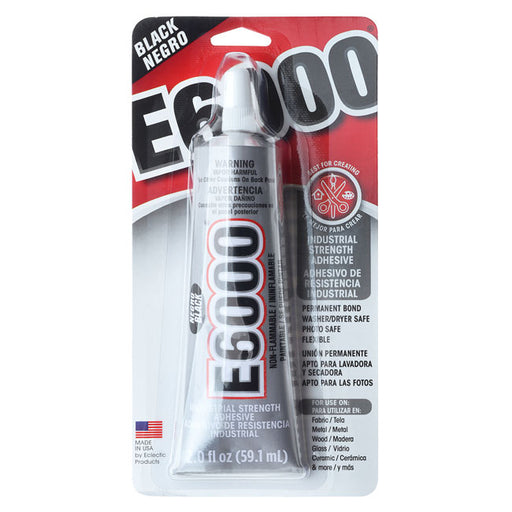 E6000 Adhesive, Industrial Strength Glue, 2 Ounce Tube, Black